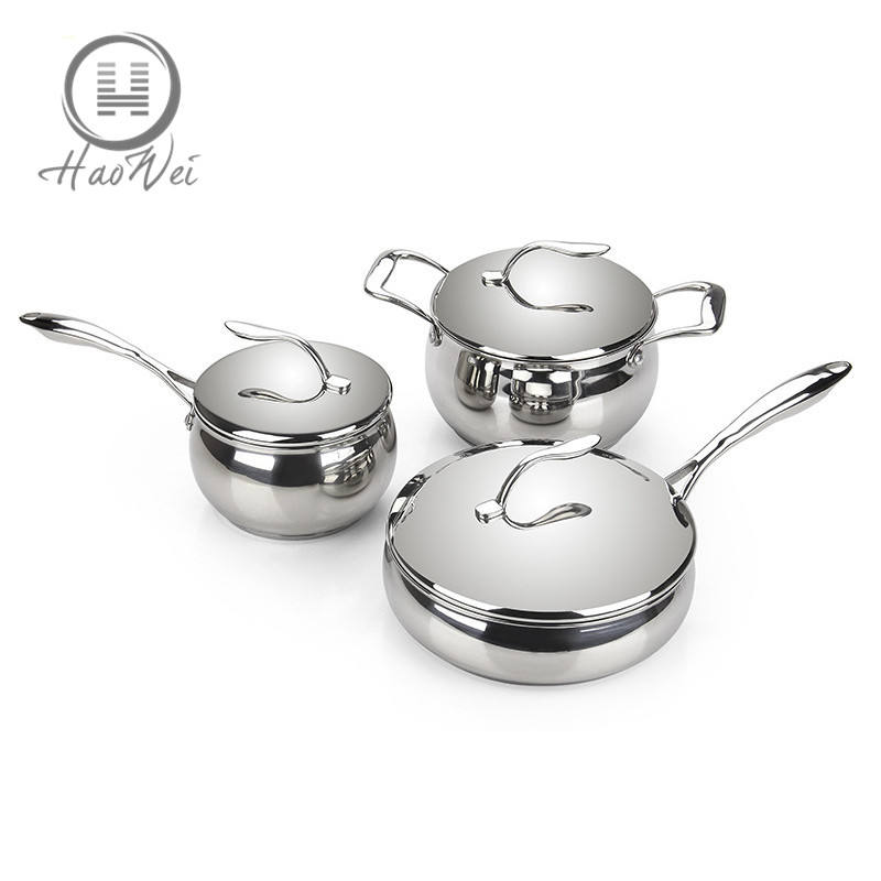 High quality Apple stock pot frying pot milk pot non stick stainless steel well equipped kitchen cookware set