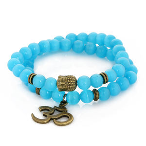 Commercio all'ingrosso cielo blu cat eye sfera di cristallo fortunato yoga guarigione testa di Buddha carattere lettere elastico string borda il braccialetto