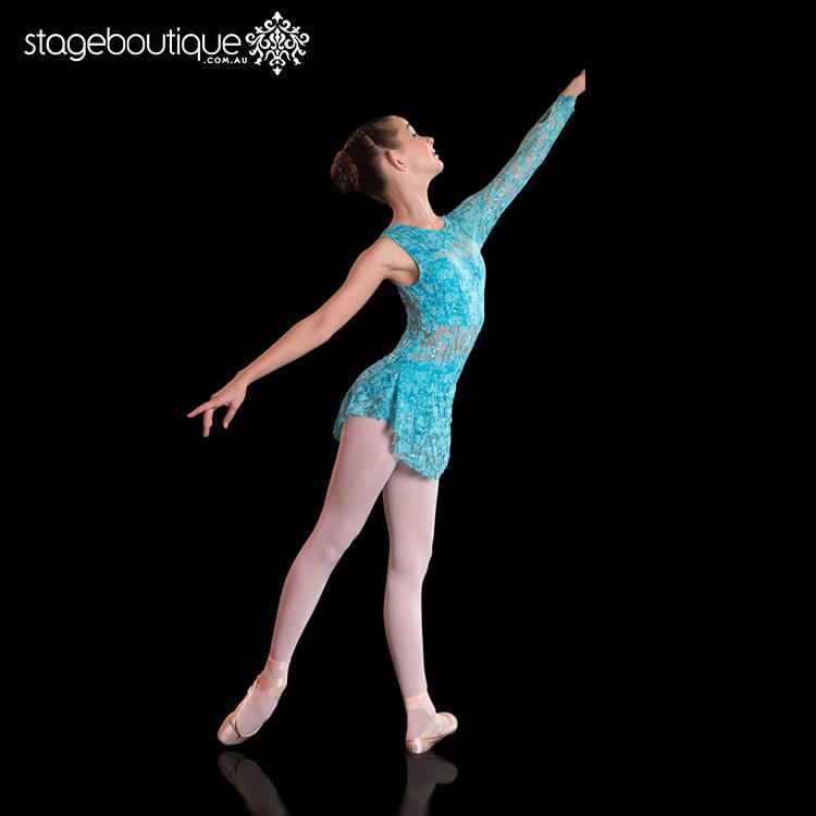 Topaz blue lyrical costume Adult Child leotard with clever cut-outs and a full overlay in lace