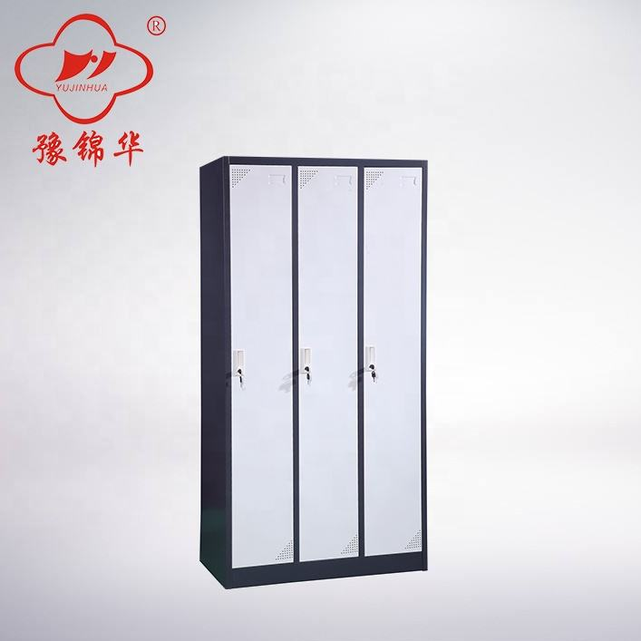Cheap clothes storage metal 3 door cabinet sports steel locker knock down furniture