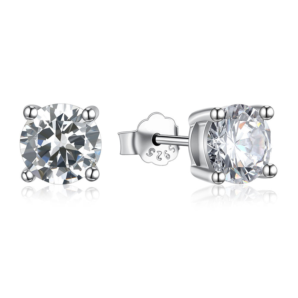 Custom classic quality 2mm 3mm 4mm 5mm 6mm 7mm cz silver stud earrings with screw or plain post