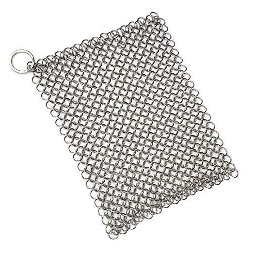 Roestvrij Staal Gietijzer Cleaner Vierkante <span class=keywords><strong>Chainmail</strong></span> <span class=keywords><strong>Scrubber</strong></span> met Ring 7x7 Inches