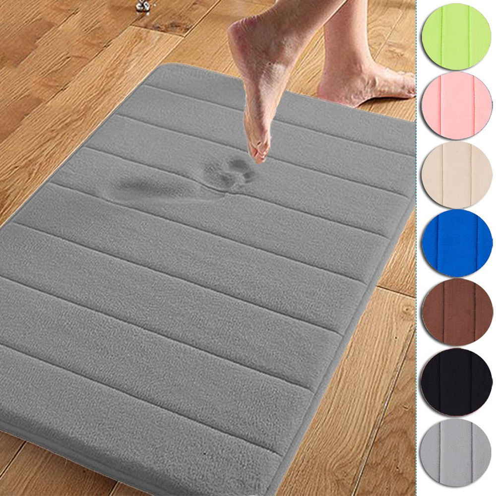 Cheap Memory Foam Bath Mats 40cm60cm Bathroom Horizontal Stripes Rug Absorbent Soft Comfort Non slip Bath Mats