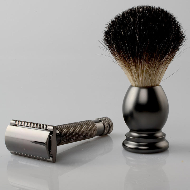 black barber engraving logo shaving razor aluminum brush kit