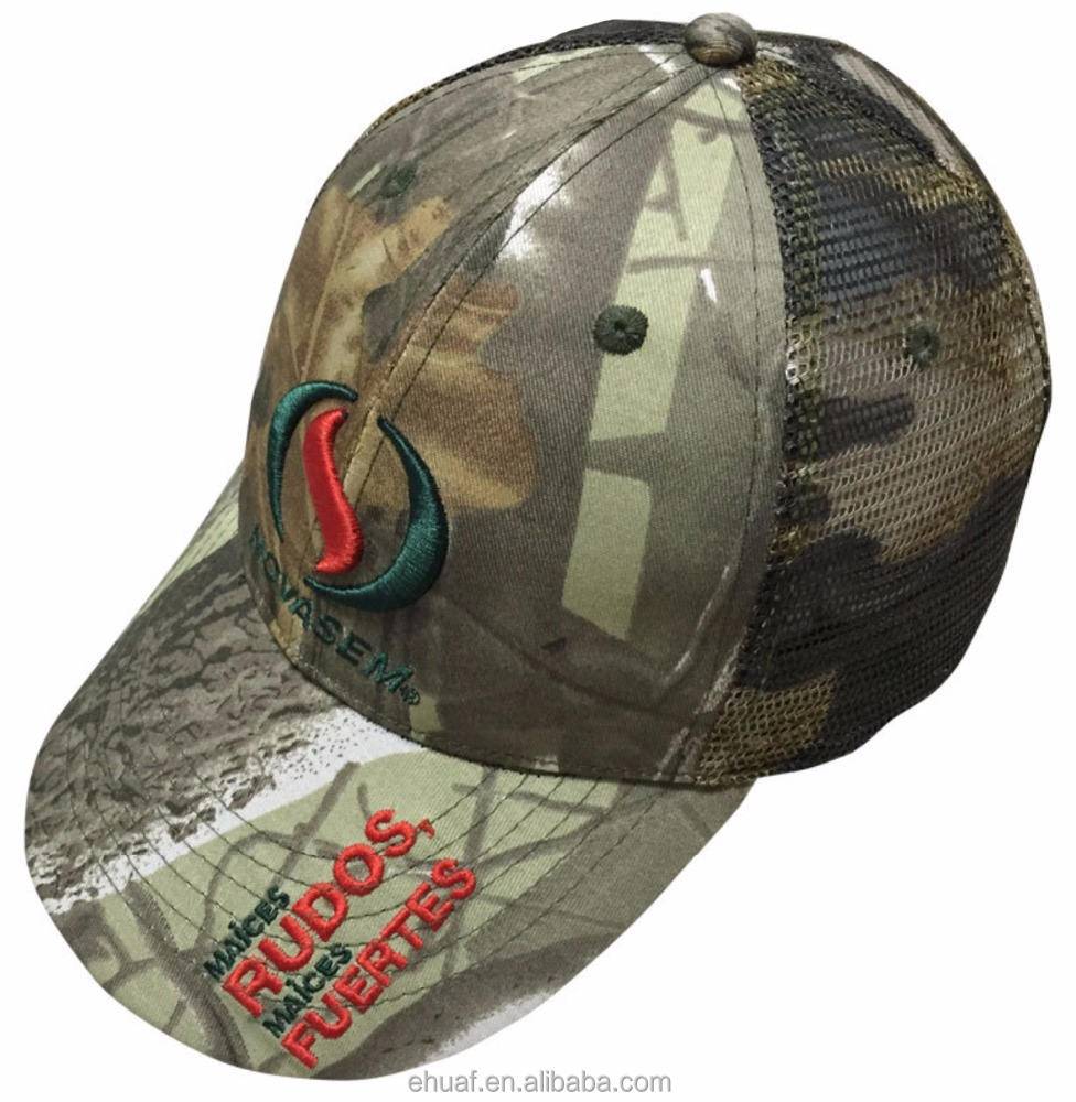 6 panel constructed cotton real tree leaf green camo mesh customize embroidered trucker hunting cap