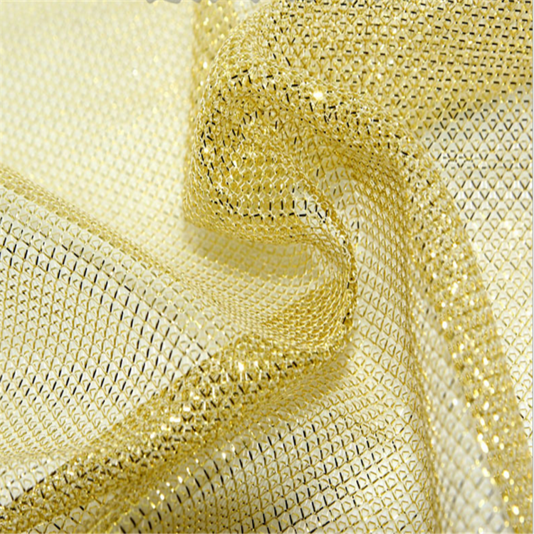 Knitted Lurex Fabric Yarn Diamond Mesh Fabric