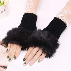 Winter Warm Faux Rabbit Fur Mittens Fashion Fingerless Glove
