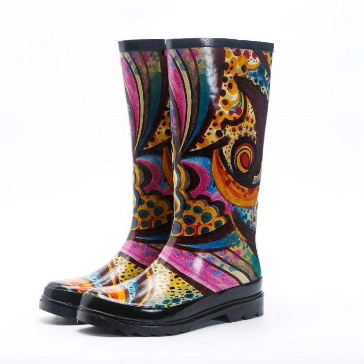 Fashion Custom Print Wellington Boot WomenのWholesale Gumboots Women Rubber Rain Boots