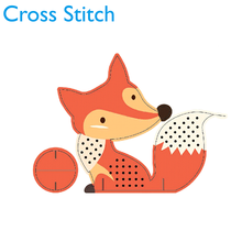 Promotional Gifts Embroidery Home Decoration Kits Diy Kids Craft Fox Patterns Handicraft Dome Cross Stitch Kits