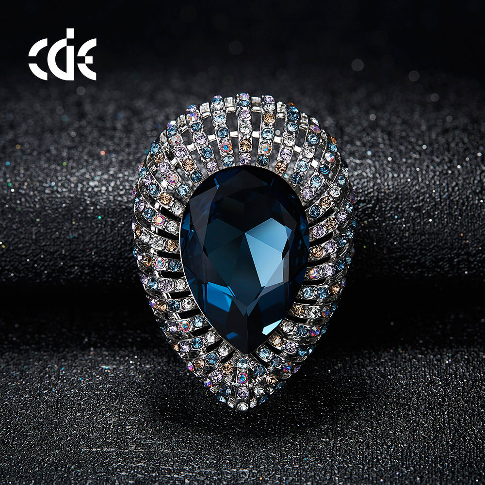 embellished with crystals from Swarovski OEM jewelry manufacturer custom fashion blue brooch