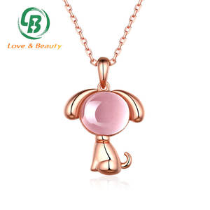 Natural quartz rose gold dog pendant silver gemstone animal jewelry
