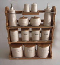 Ceramic jar set for storage with wooden shelf