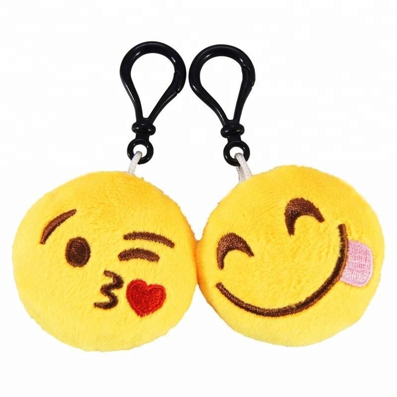 Poop Emoji Key Ring with Sound 10cm High Plush Emoticon Handbag Clip On