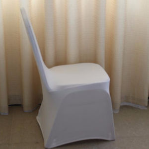 White universal stretch polyester chair cover for wedding