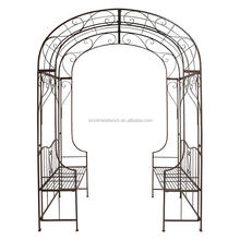 Chinese decorative wrought iron garden arch design in hebei metal archways for gardens iron pergola metal gazebo with two beach