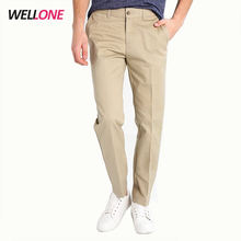 Wellone cheap casual plain blank custom embroidery logo twill cotton pockets men khaki chino pants