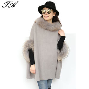 Wholesale fashion style soft material fur trim knitted winter ponchos for women