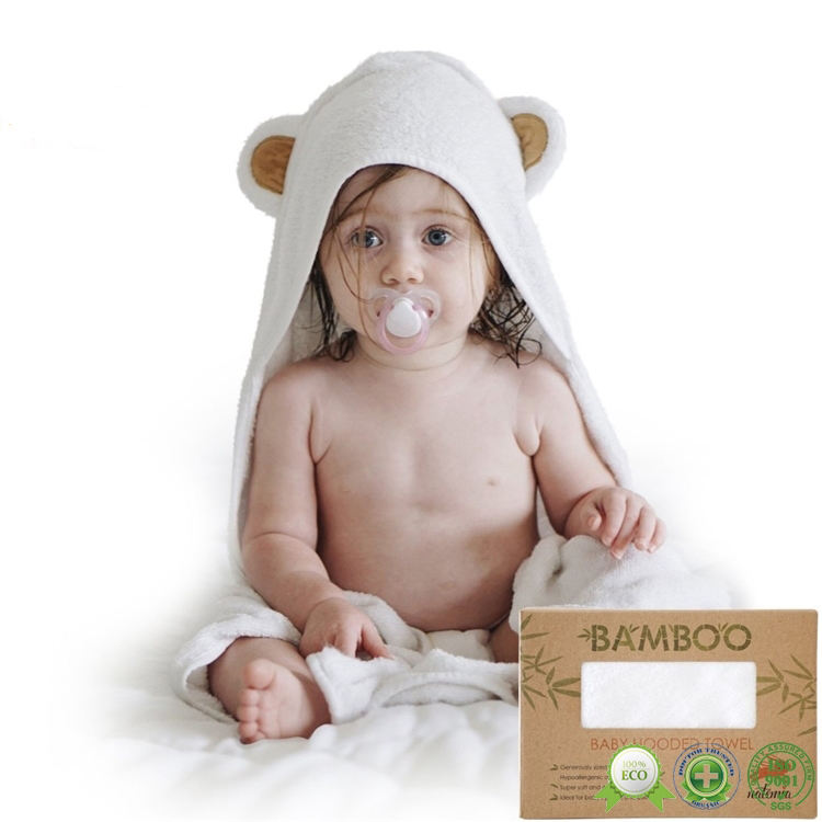 Wholesale promotional pure child kids organic bamboo animal baby hood towel with bear ears