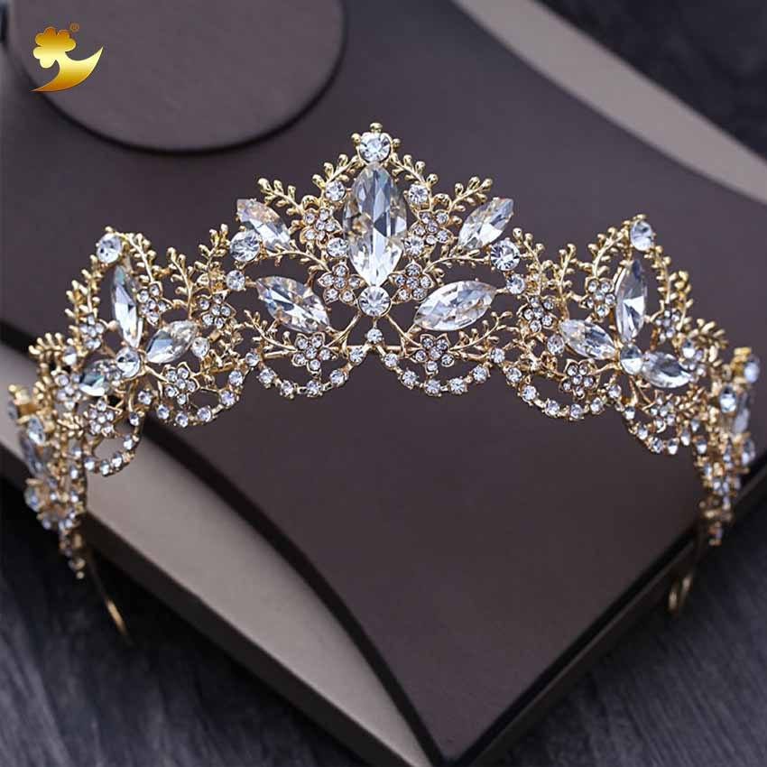 Hot sale fashion european wedding tiara tiara crown with stunning rhinestones