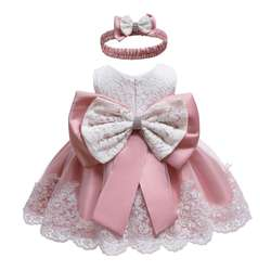 2019 hottest baptism lace baby dress girls with big bow