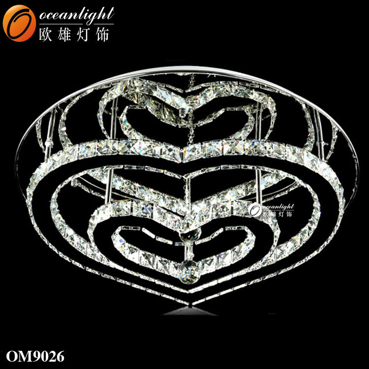 metal heart design romantic crystal ceiling light lamps for bedroom living room