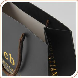 Custom printing black paper bag shopping with gold logo