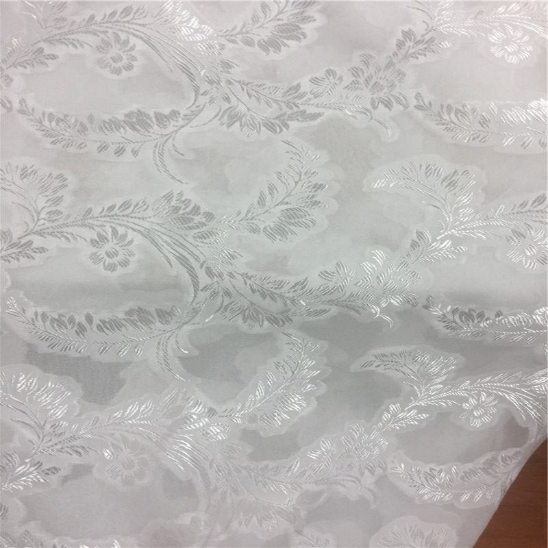 Silk rayon jacquard fabric silk chiffon brocade fabric silk metallic blended fabric