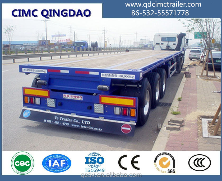 20ft 40ft 2 axles Flat bed semi trailer