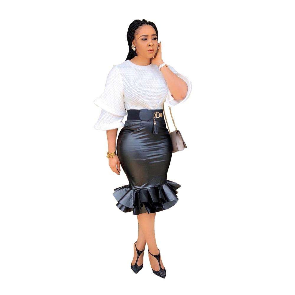 Ready to Ship 2019 new stylish leather slim fishtail skirt
