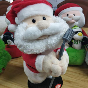 Electronic Singing and dancing Christmas Santa Claus with microphone in his hand plush toys Christmas Santa Claus