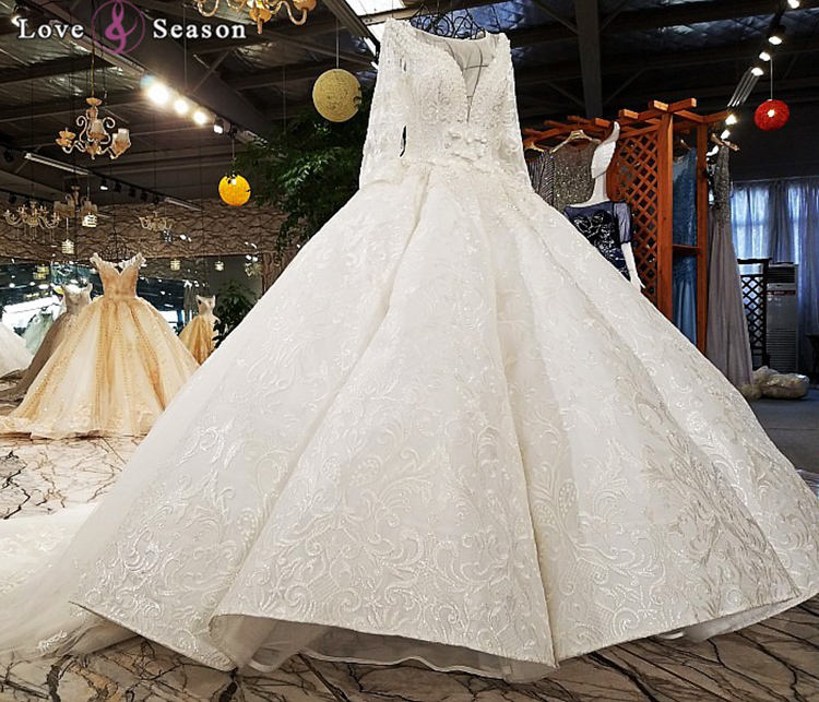 Jancember LS3377 muslim wedding dresses pictures bodice rhinestone applique long sleeve gown buy china wedding dress