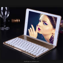 2016 Best seller Backlit Aluminium alloy Bluetoth keyboard case for iPad Air2&ipad Pro with smart cover