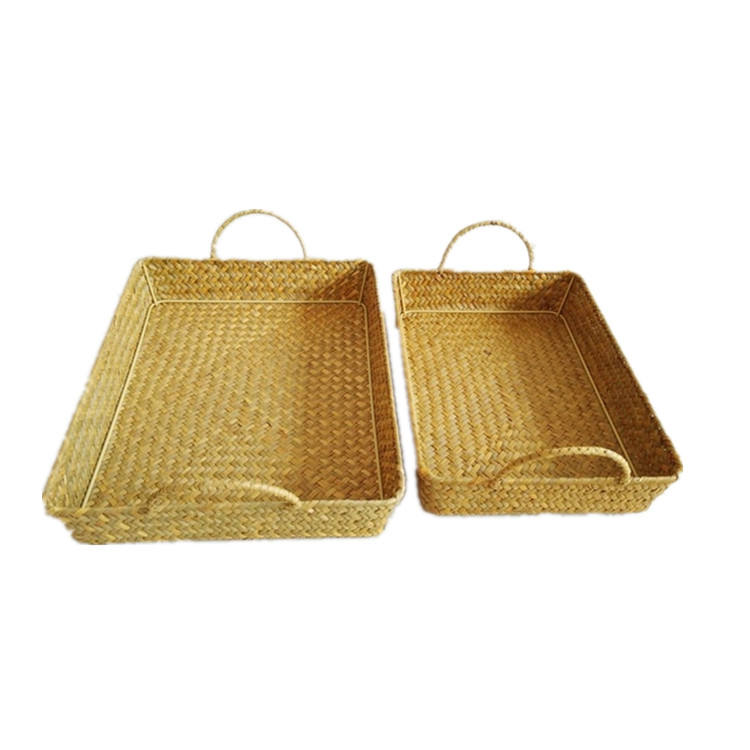 China Supplier Rectangular Eco-friendly handmade woven seagrass food basket with handles