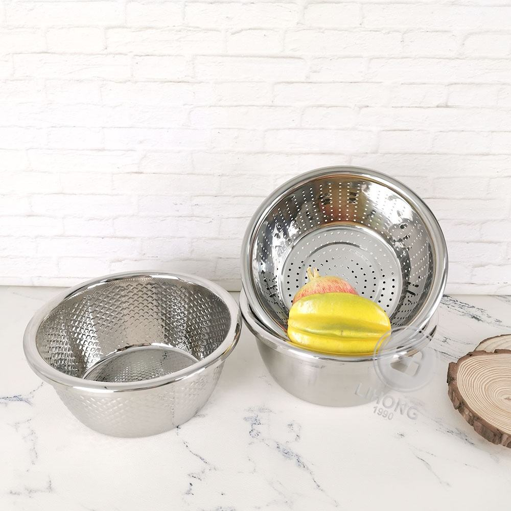 Cheap price rice colander and bowl set Stainless Steel Colander Set 3 PCS Kitchen Accessories Set