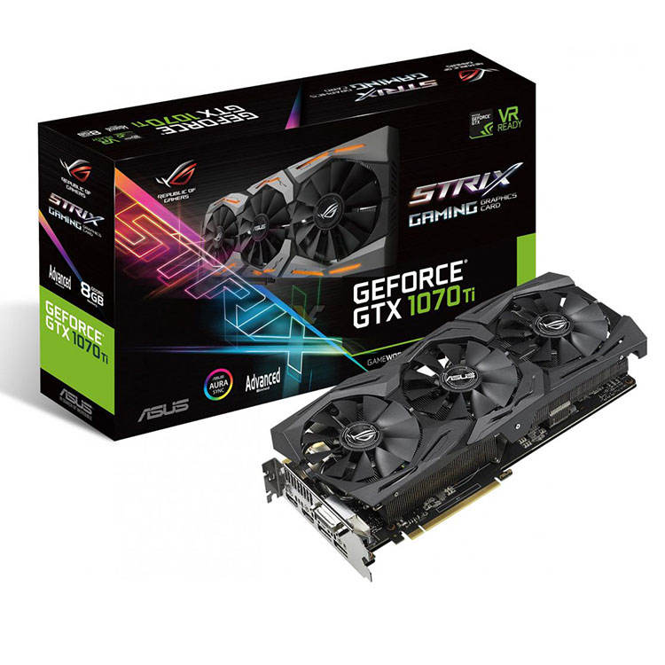 ASUS NVIDIA ROG STRIX GTX1070TI A8G GAMING Graphics Card with GDDR5 8008 MHz 256 bit