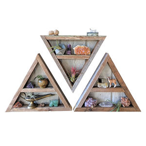 Three Triangle Shelves geometric wood art crystal display shelf reclaimed wood wall art