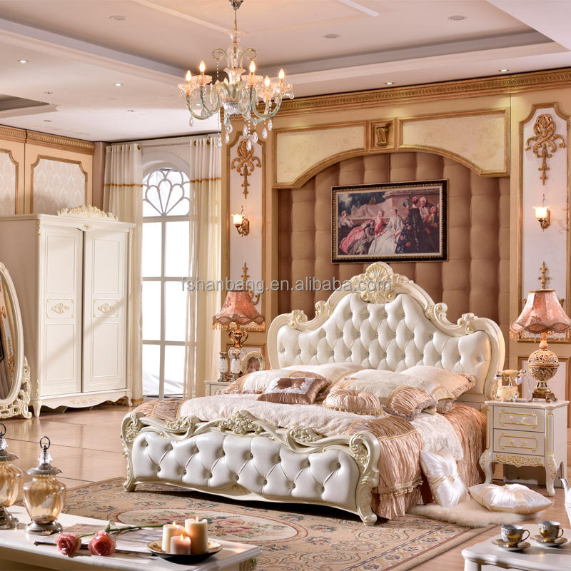 Royal European French wood carved bed room furniture bedroom set
