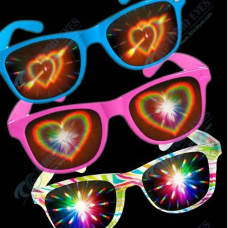 wholesale custom logo plastic diffraction fireworks glasses for promotional gifts