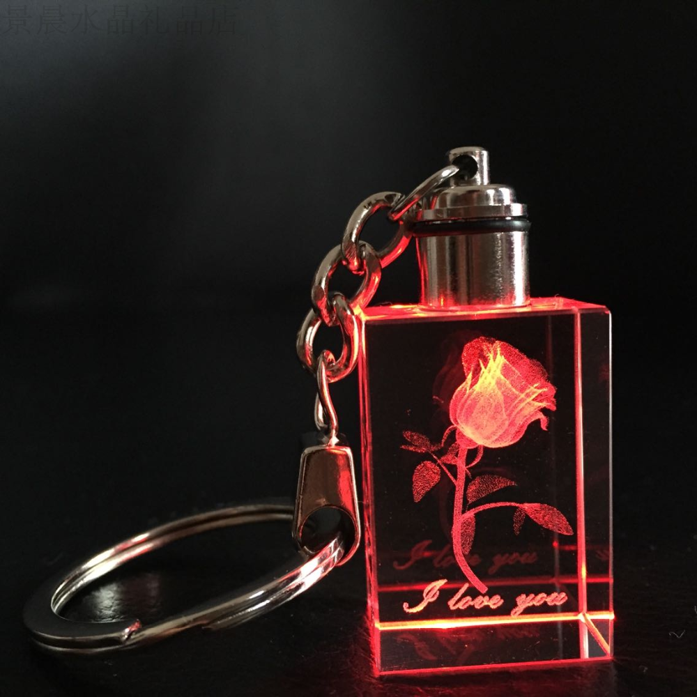 Fancy lighted custom 3d laser rose flower crystal keychain/key chain screw for tourist souvenirs