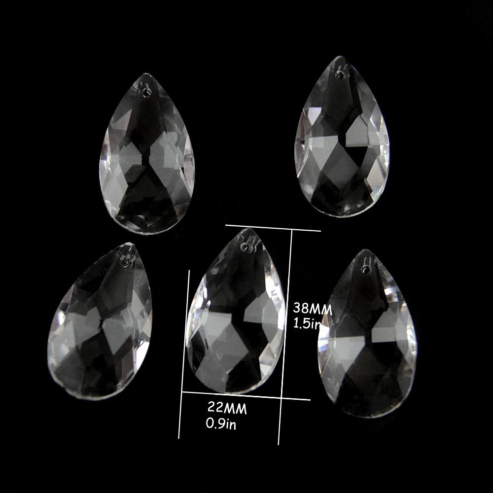 38mm 50pcs Clear/Transparent Glass Lamp Teardrop Pendants Crystal Chandelier Parts Accessories For Lighting