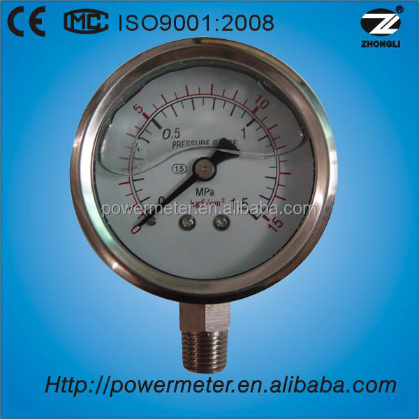 1.5 inch lower mount good quality steam boiler pressure gauge for 1.5Mpa