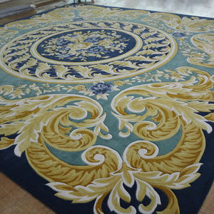 Royal blue and yellow luxury handmade large persian carpet living room