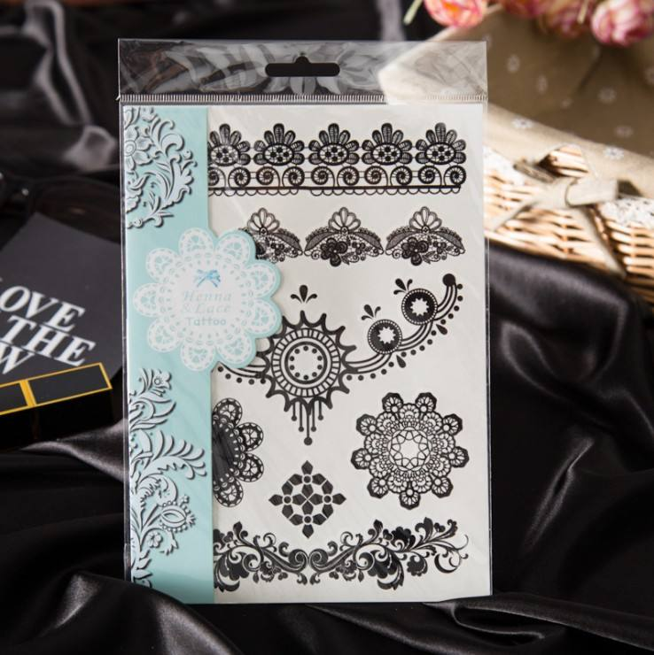 Wholesale White Black Henna Permanent Temporary Sticker Tattoos