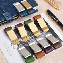 Fashion vintage travel notebook accessories pen clip stainless steel leather pen holder clip