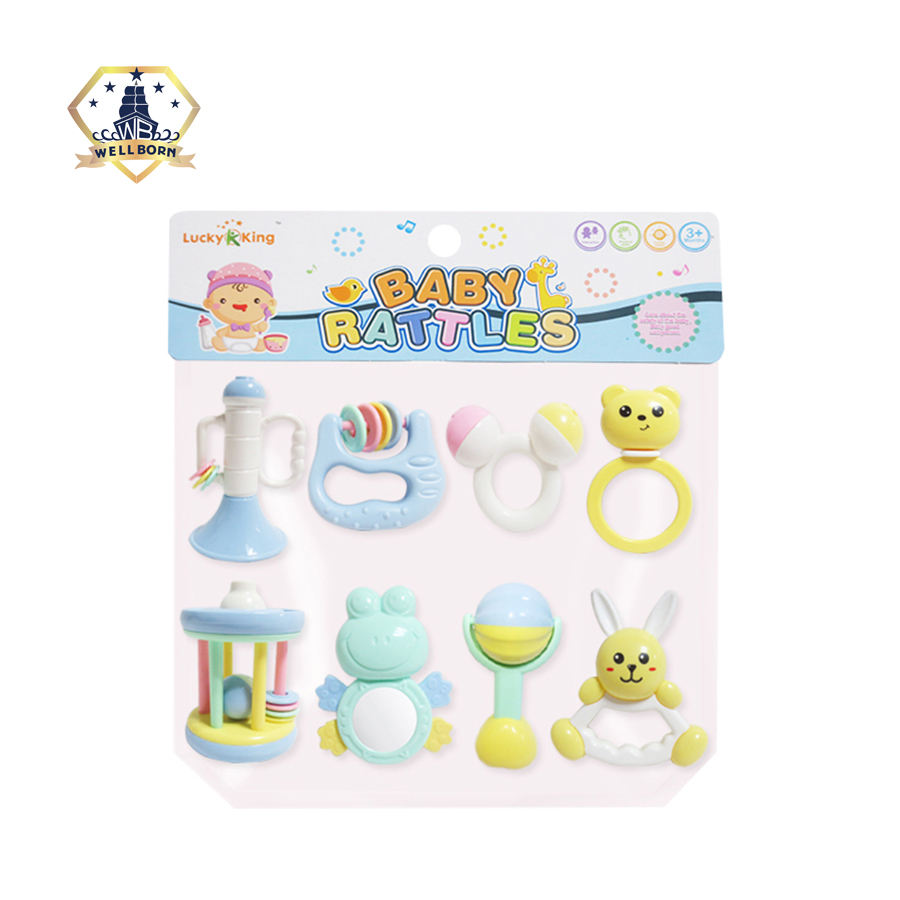 Safe baby play hand shaking bell rattle toy teether set for infant