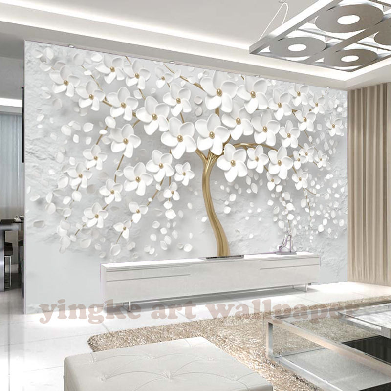 custom 3D photo wallpaper 3d wall mural wallpaper white flowers 3d stereo relif wallpaper for wedding house wall decoration