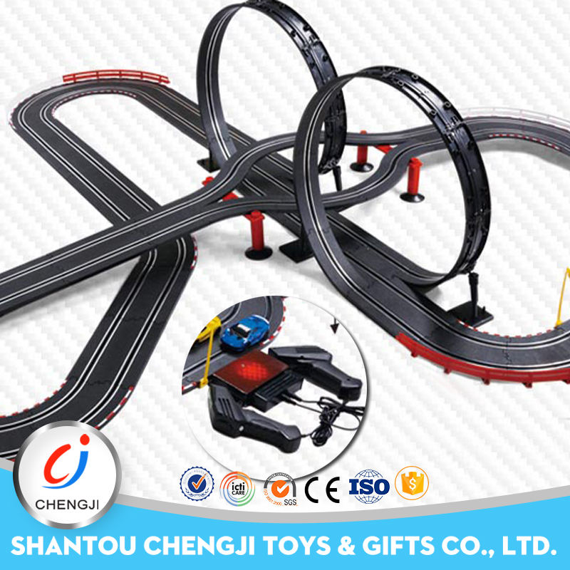 Top sale plastic railway toy 1:43 electric kids funny slot car racing sets