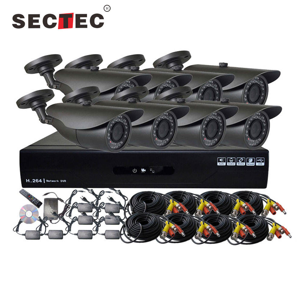 P2P NVR kit 8pcs 720P IP Camera and NVR Night Vision Security Surveillance System 8 Channel Kit for Home Factory Supermarket Use