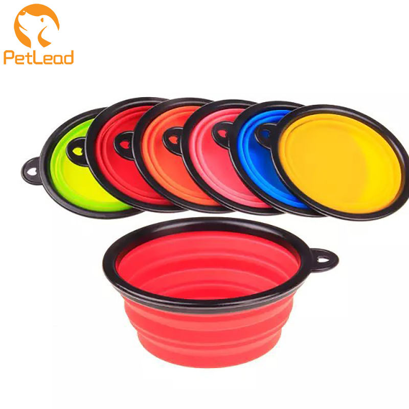 TPE collapsible dog bowl plastic feeder pet cat food foldable travel dog bowl