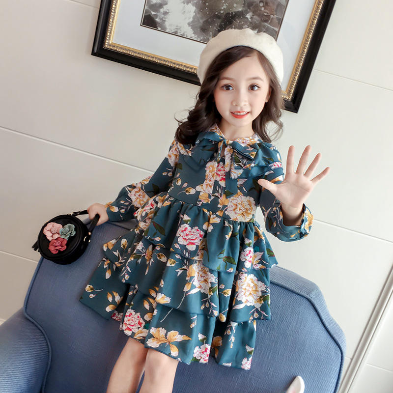 Ready To Ship New Design Custom A-Line Spring Fall Large Multi-Layer Ruffled Girl Vintage Retro Print Princess Dress